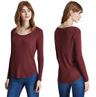 Marks & Spencer Womens Round Neck Fine Ribbed Top New M&S Long Sleeve T-Shirt