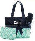 Personalized Vine Moroccan Mint Navy Quilted 3Pcs Set Diaper Bag Free MONOGRAM
