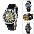Men's Cool Mechanical Skeleton Watch New Fashion Hand Wind Leather Strap