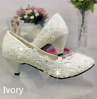 Lace white ivory crystal Wedding shoes Bridal flats low high heel pump size 5/12