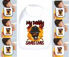 Rabbit Skins Infant Cotton Snap Bib My Daddy Saves Lives Firefighter Fireman