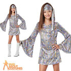 Child Disco Darling Costume 1970s Sequin Hippy Girls Fancy Dress Outfit New