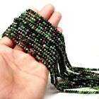 """For Jewelry RUBY ZOISITE Gemstone faceted Rondelle beads 4 MM - 4.5MM 16"""" Strand"""