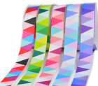 "NEW 15y 25y 50y 9mm 3/8"" Colourful Triangle Banner Premium Grosgrain Ribbon Eco"