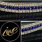 Bling 5 Row ICE Crystal/Pearl Diamante Browband Royal Blue