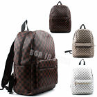Ladies Faux Leather Brown White Checked Backpack School College Rucksacks Bag
