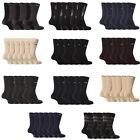 FiveG - 6 Pairs Mens Fair Trade Cotton Rich Black Business Crew Socks, 8 Colors