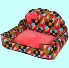 New Sweet Soft Bow Pet Dog Cat Sofa Bed House Cushion Mat Poodle Puppy Size M