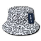 Decky Paisley Bandana Design Fitted Bucket Boonie Hats Caps Cotton 2 Sizes