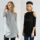 NEW Fashion Women Off-shoulder Casual Tops Blouse Cotton T-Shirt Black Gray