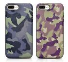 Military Camouflage Genuine Leather Back Silicone Case Cover for iPhone7 & Plus