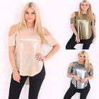 LADIES METALLIC CUT OUT SLEEVES LONG WOMEN T-SHIRT COLD SHOULDER HI LO HEM TOP