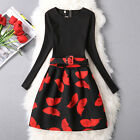 2016 Autumn Women's Long Sleeves Butterfly Cocktail Party Dress Skirt Q1502