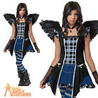 Teen Strangeling Raven Costume Girls Halloween Fancy Dress Outfit New