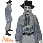 Zombie Ghost Ship Pirate Costume Mens Fancy Dress Halloween Black Beard Outfit