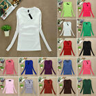 Autumn Women Plain T shirt Ladies Long Sleeve V Neck T Shirt Top Multiple Choice
