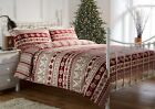 100% Brushed Cotton Flannelette Red Nordic Printed Festive Duvet Sets