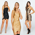 New Womens Crossover Bodycon Strappy V Neck Evening Party Ladies Mini Dress 8-14