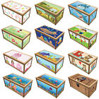 PRINTED WOODEN TOY BOX / STORAGE UNIT FOR CHILDREN KIDS TOYS CHEST BOXES FUN