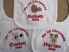 Personalised First Christmas Baby Bib - Embroidered  Choose Design 2017 ANY NAME