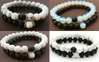 Couples Bracelets Yin Yang Matte Agate White Howlite Beaded Bracelet His and Her
