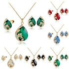 Fashion Women Gold Plated Crystal Rhinestone Necklace Earrings Ring Jewelry Set