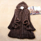Women 100% Real Knitted Mink Fur Long Coat Outwear Chic Gift Hooded Tailor-made