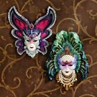 MASQUERADE PEACOCK BUTTERFLY LADY WALL MASK SCULPTURE Mardi Gras Carnival Art