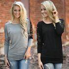 Fashion Women's Lace Floral Patchwork Long Sleeve Cotton Casual Tops T-shirt