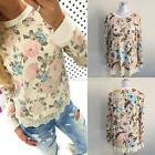 Women Casual Long Sleeve T-shirt Lace Rose Printed Blouse Cotton Tops S M L XL