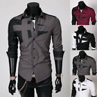 Men's  Luxury Casual Slim Fit Stylish Dress Shirts Top Trendy Long Sleeves Black