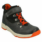 TRI SPIKE BOYS CLARKS LEATHER CASUAL LEATHER RIPTAPE LACE UP SPORTY ANKLE BOOTS