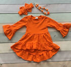 Girls Orange High Low Ruffle Dress Necklace Bow Set Boutique Fall Outfit 2T-7