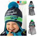New Boy Toddler Kids Warm Winter Acrylic  Lace Up Hat Cap With Scarf 2-3.5 years