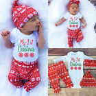 """""""MY First Christmas"""" Newborn Baby Girls Costume Romper Pants Hat Outfit Set Hot"""