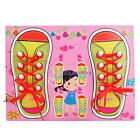 Wooden Learn To Tie Your Shoe Laces Educational Tying Lace Learning Toy for Kids