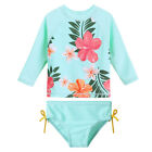 Girls Two Piece Bikini Swimsuit 2-8Y Kids UV Rash Guard Swimming Swimwear Flower