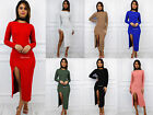 Glamzam New Womens Ladies Long Sleeve Side High Slit Bodycon Party Dress
