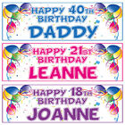2 PERSONALISED BALLOON BIRTHDAY BANNERS - 1st 18th 21st 40th 50th - ANY NAME/AGE
