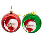Personalised photo Christmas tree bauble red or green ornament decoration