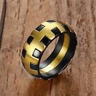 Unqiue Black & Gold Plated Stainless Steel Ring Men's Gift Jewelry Size 9-12