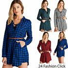 Women's Long Sleeve Belted Check Plaid Flannel Shirts Dress Button Down S M L