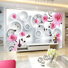 3D Rose, butterfly 12 Wall Paper Wall Print Decal Wall Deco Indoor wall Murals