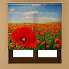 Red Flower Window Blackout Transparent Fabric Roller Blind Shades Various Sizes