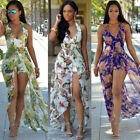 New Women Ladies Boho Beach Chiffon Floral Summer Long Maxi Evening Party Dress