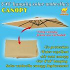 Canopy for 8'x8' Hanging Solar Patio Umbrella Replacement Top Cover Outdoor