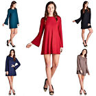 Women's Solid Soft Loose Long Bell Sleeves Round Neck Tunic Dress Top Blouse