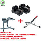 Complete set of Bowflex 1090 Adjustable Dumbbell, Bench, Stand