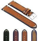 DASSARI Regal Vintage Mens Leather Watch Band Strap with Hand Sewn Stitching