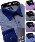 Men's Cotton striped Shirt Classic contrast collar Formal Casual Long sleeve
